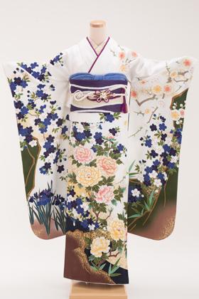 正絹・振袖【2月-12月】140199 菜々緒 白地 牡丹に菖蒲 NA-1