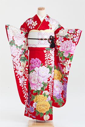 正絹・振袖【2月-12月】140200 菜々緒 赤 牡丹に藤