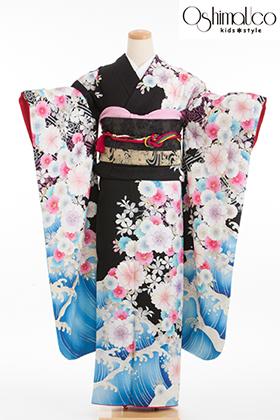 成人式用 振袖 140206-S 大島優子 黒地 波に桜