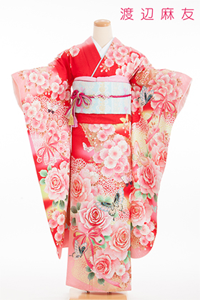 正絹・振袖【2月-12月】140217 渡辺麻友 赤地 桜に牡丹