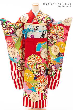 成人式用 振袖 140230-S NS・白石麻衣・赤地 裾紅白
