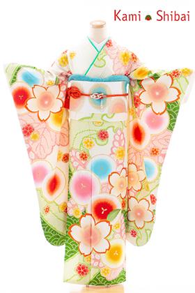 正絹・振袖【2月-12月】140242 NS・かみしばい・オフ白 丸に桜