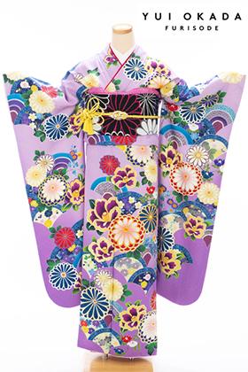 成人式用 振袖 140254-S NS・岡田結実・薄紫地 菊に椿