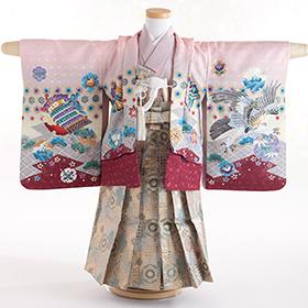 七五三 着物 3歳 紋付・袴 310025 ピンク 鷹