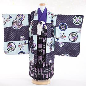 七五三 着物 5歳 紋付・袴 310052 式部浪漫 市松柄 SR-5NK