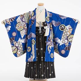 七五三 着物 5歳 紋付・袴 310067 式部浪漫 青 矢の中に松 扇