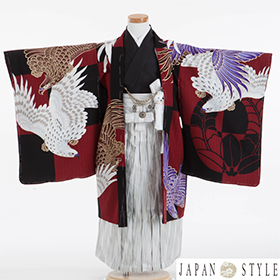 七五三 着物 5歳 紋付・袴 310070 村田涼太×JAPAN STYLE 赤黒 市松 鷹 JM-2
