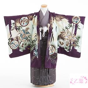 七五三 着物 5歳 紋付・袴 310079 乙葉 古代紫 兜 HM-1