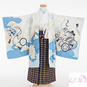 七五三 着物 5歳 紋付・袴 310085 乙葉 宝船に兜 水色・紺