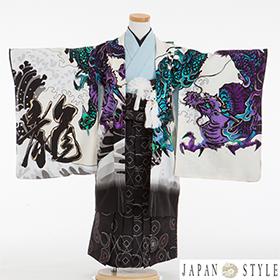 七五三 着物 5歳 紋付・袴 310086 JAPANSTYLE 龍に富士 白・黒