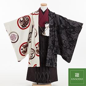 七五三 着物 5歳 紋付・袴 310095 UNSODO エンジ着物 白黒羽織