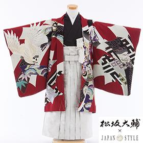 七五三 着物 5歳 紋付・袴 310102 JAPANSTYLE 赤地 熨斗に鷹 JM-1