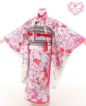 七五三 着物 7歳 四つ身セット 320017 SEIKO MATUDA 白地 水色 ピンク薔薇