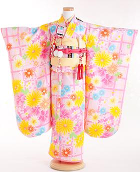 七五三 着物 7歳 四つ身セット 320020 DAISY LOVERS ピンク ガーベラ花柄