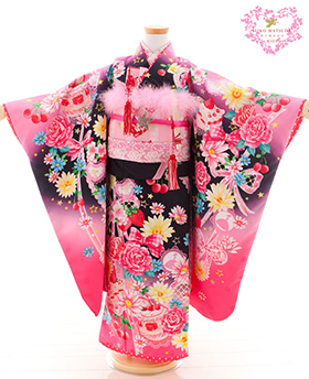 七五三 着物 7歳 四つ身セット 320049 SEIKO MATUDA 黒地 ピンク ケーキ