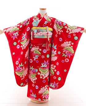 七五三 着物 7歳 四つ身セット 320055 Tsubasa Kids 赤 古典小紋柄
