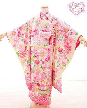 七五三 着物 7歳 四つ身セット 320062 SEIKO MATSUDA  黄色地  ピンクバラ柄