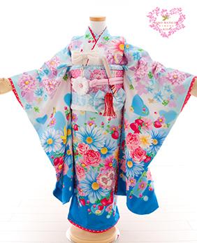七五三 着物 7歳 四つ身セット 320087 SEIKO MATSUDA 水色マーガレット S-1
