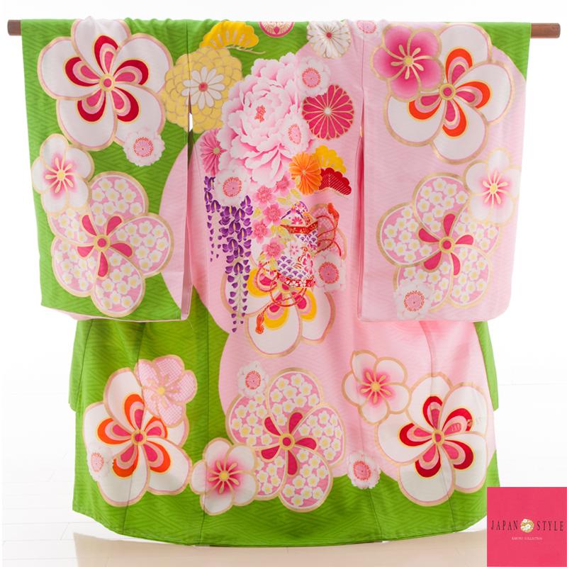 お宮参り・掛け着物 女児・産着 320092 JAPAN STYLE グリーン ピンク ねじり梅 JJ-2