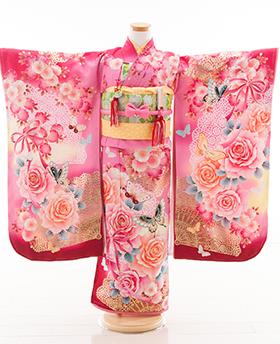七五三 着物 7歳 四つ身セット 320094 渡辺麻友 ピンク地 桜にバラ 蝶