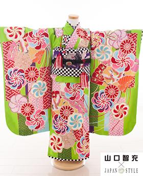 七五三 着物 7歳 四つ身セット 320097 JAPAN STYLE×山口智充 黄緑 ねじり花 J-1