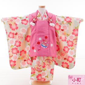 七五三 着物 3歳 被布セット 320101 小町 kids ピンク被布 黄緑着物 桜