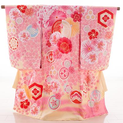 お宮参り・掛け着物 女児・産着 320104 JAPAN STYLEクリームピンク・鶴 JJ-1