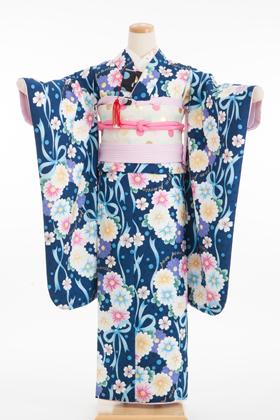 十三参り・1/2成人式 320106 ポンポネット pom ponette 紺 フラワー リボン