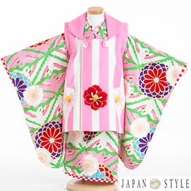 七五三 着物 3歳 被布セット 320116 村田涼太×JAPAN STYLE ピンク ストライプ JF-2