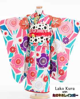 七五三 着物 7歳 四つ身セット 320122 LakoKura with たこやきレインボーL-4
