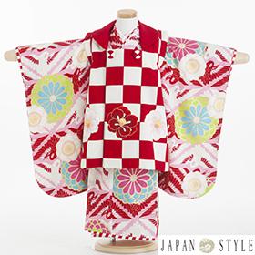 七五三 着物 3歳 被布セット 320125 村田涼太×JAPAN STYLE 赤 市松 JF-1