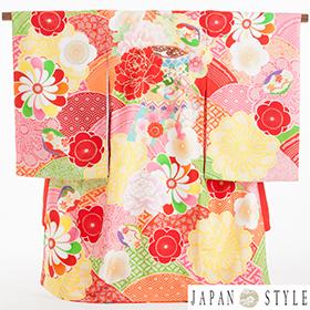 お宮参り・掛け着物 女児・産着 320133 JAPAN STYLE 赤 八重梅 貝桶 JJ-1