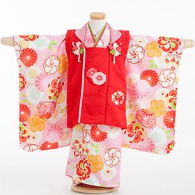 七五三 着物 3歳 被布セット 320139 式部浪漫 赤被布 ピンク まり