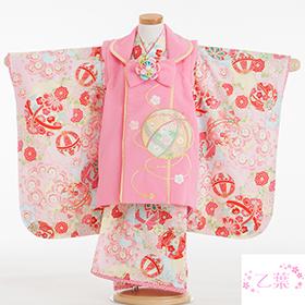 七五三 着物 3歳 被布セット 320147 乙葉 水色鞠 ピンク被布 刺繍