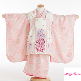 七五三 着物 3歳 被布セット 320148 メゾピアノ バラにリボン 白・ピンク