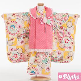 七五三 着物 3歳 被布セット 320149 Blythe 丸紋に市松 ピンク・黄色