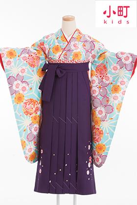 卒業式 小学生 袴 水色 紫