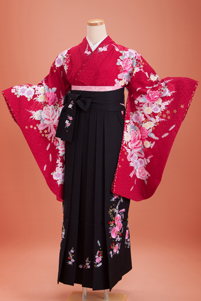 卒業式 袴 赤色 黒