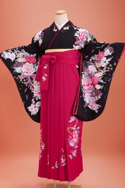 卒業式 袴 黒色 ピンク
