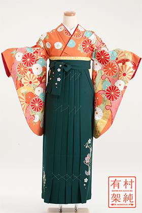 卒業式 袴 オレンジ色 緑