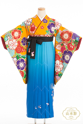 卒業式 袴 オレンジ 青