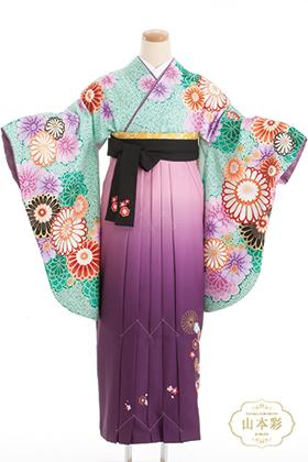 卒業式 袴 緑 紫