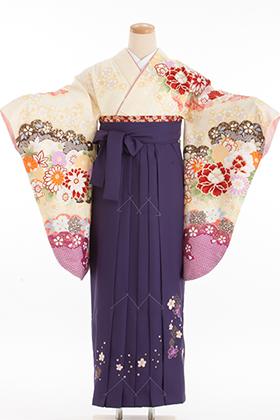 卒業式 袴 紫 白
