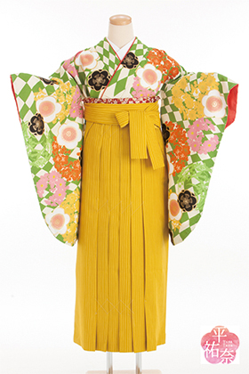 卒業式 袴 緑 黄色