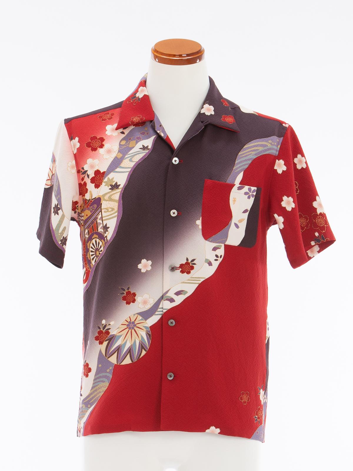 着物アロハシャツ「桜に御所車」AH100033