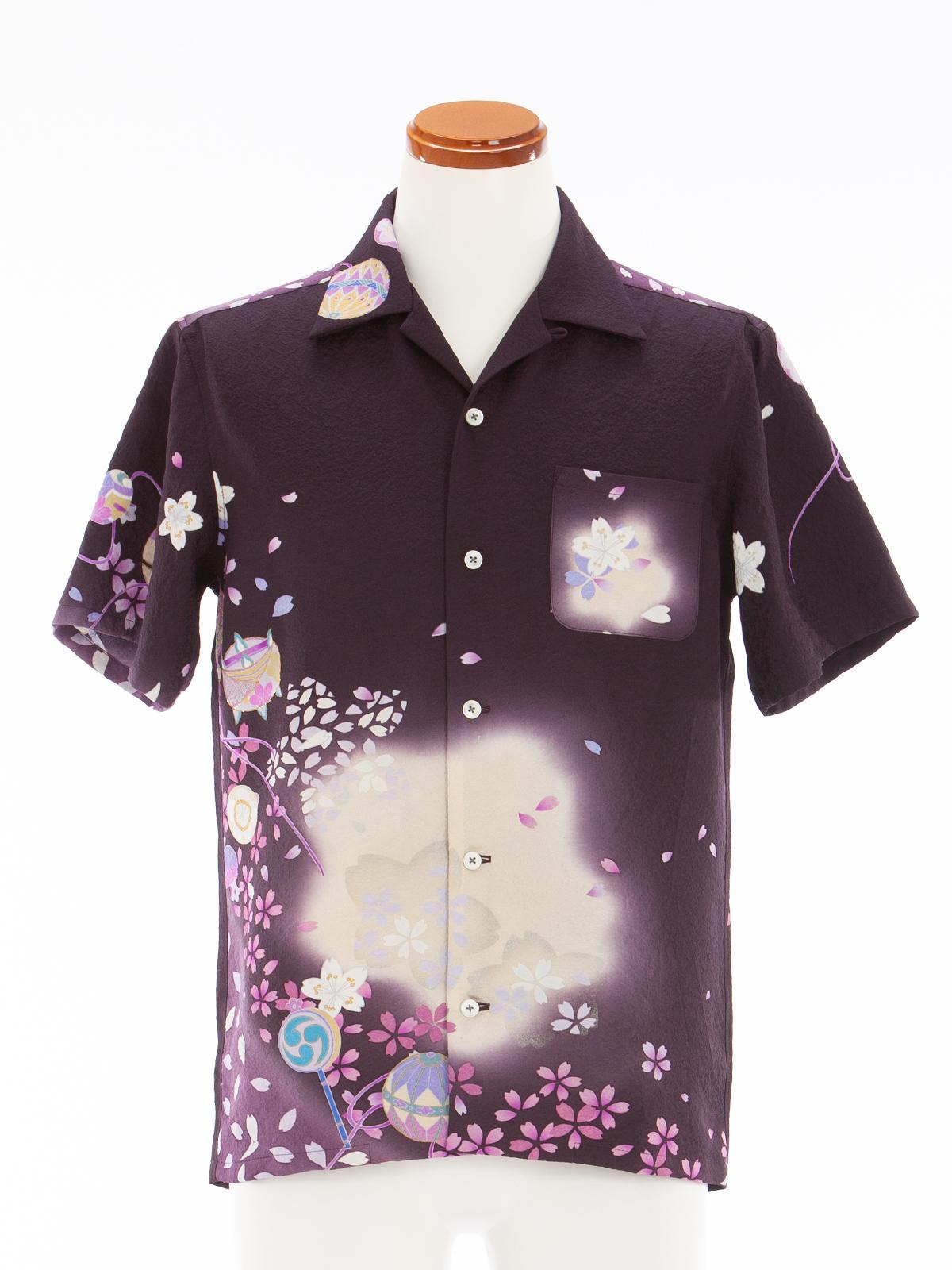 着物アロハシャツ「夜桜まり遊び」AH100037