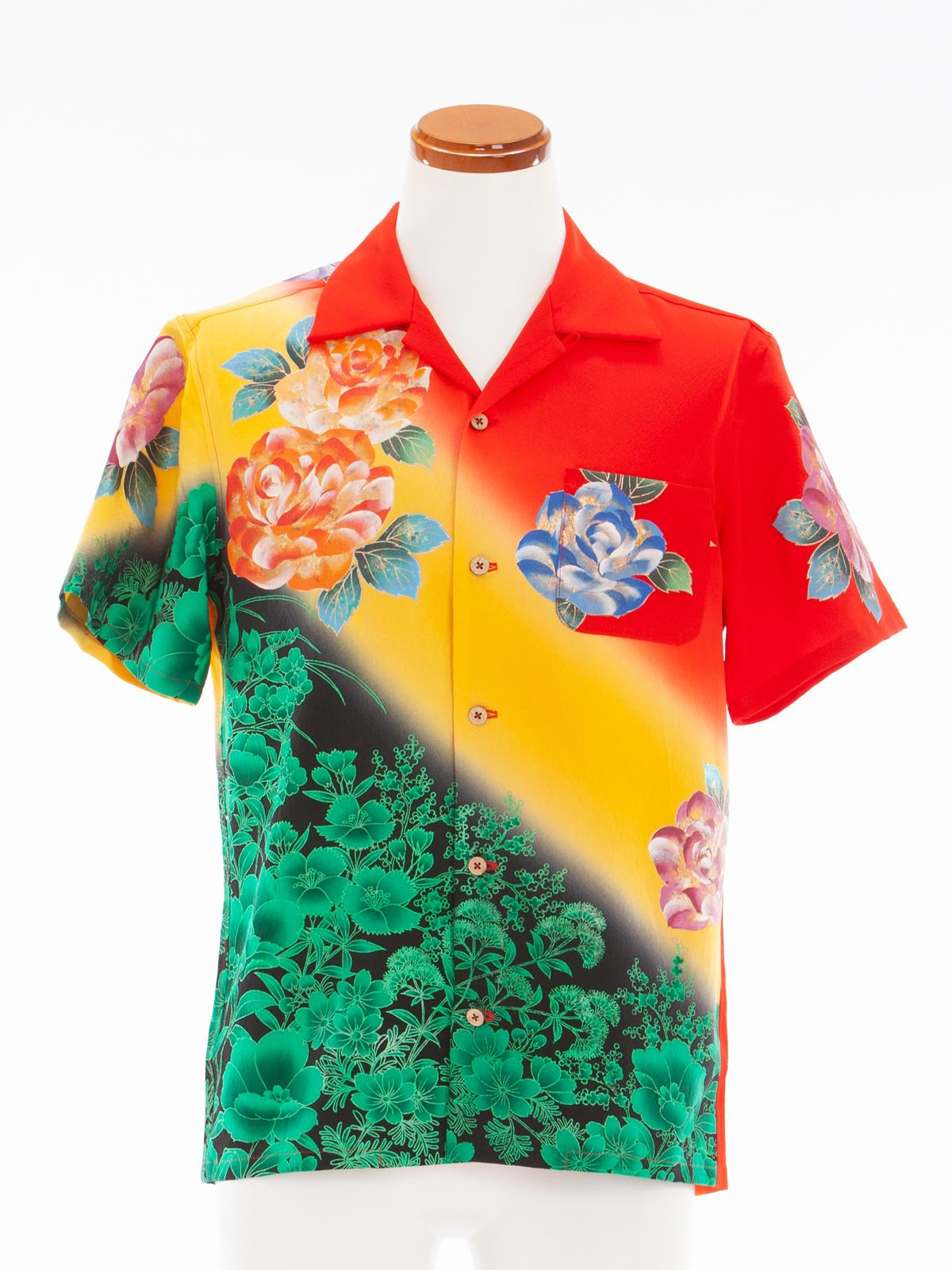着物アロハシャツ「灼熱の太陽」AH100038