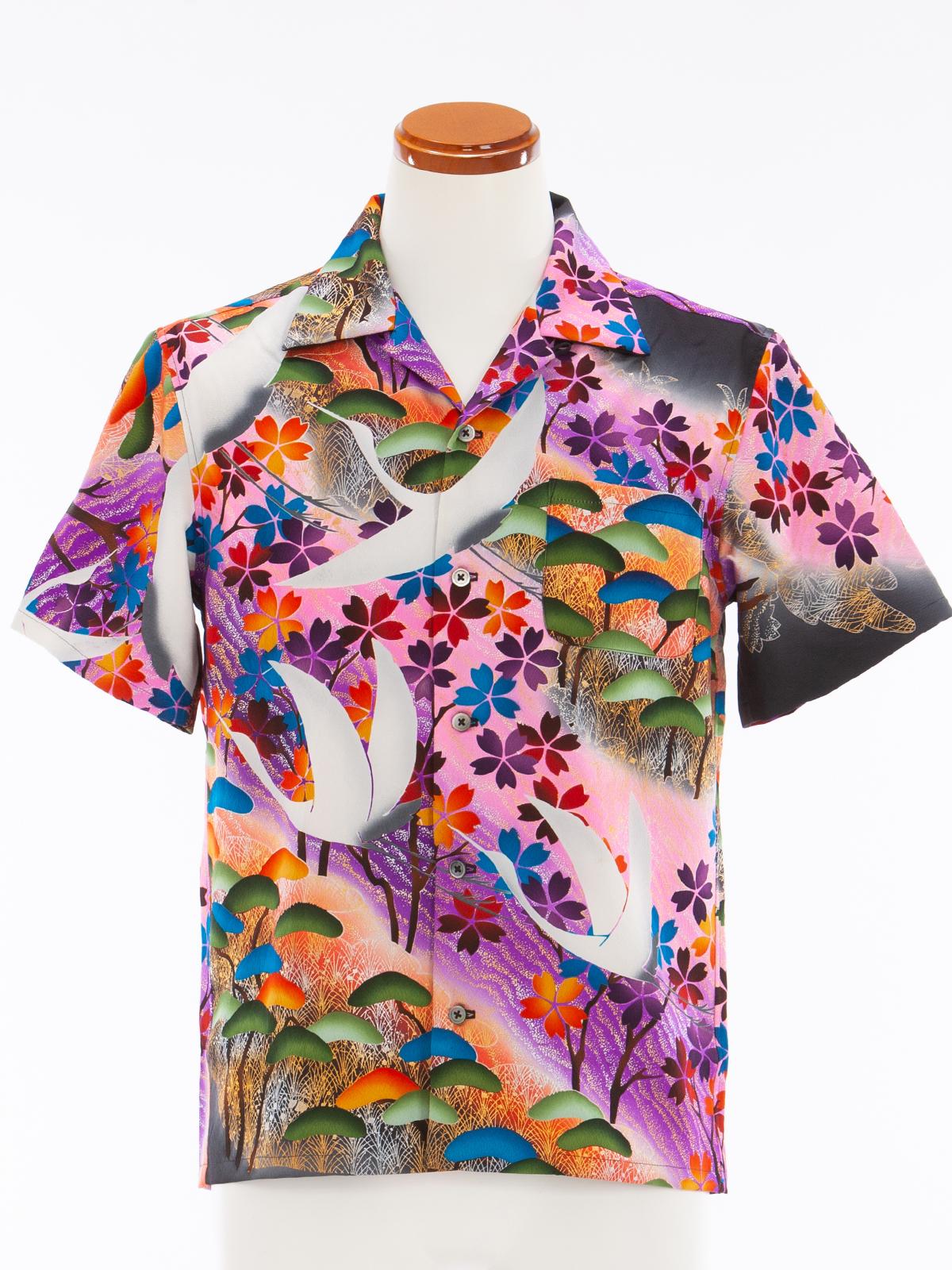 着物アロハシャツ「羽ばたく鶴」AH100044