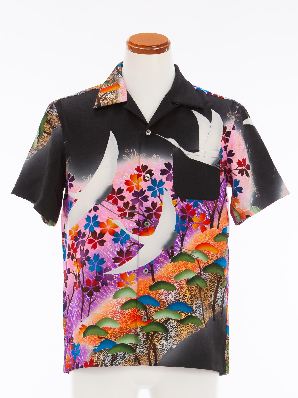着物アロハシャツ「羽ばたく鶴」AH100045