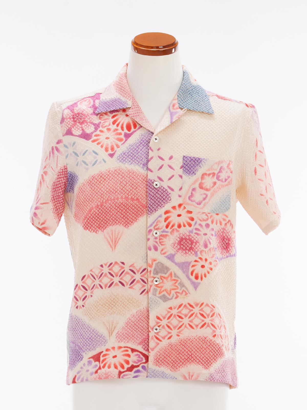 着物アロハシャツ「扇面の絞り」AH100046